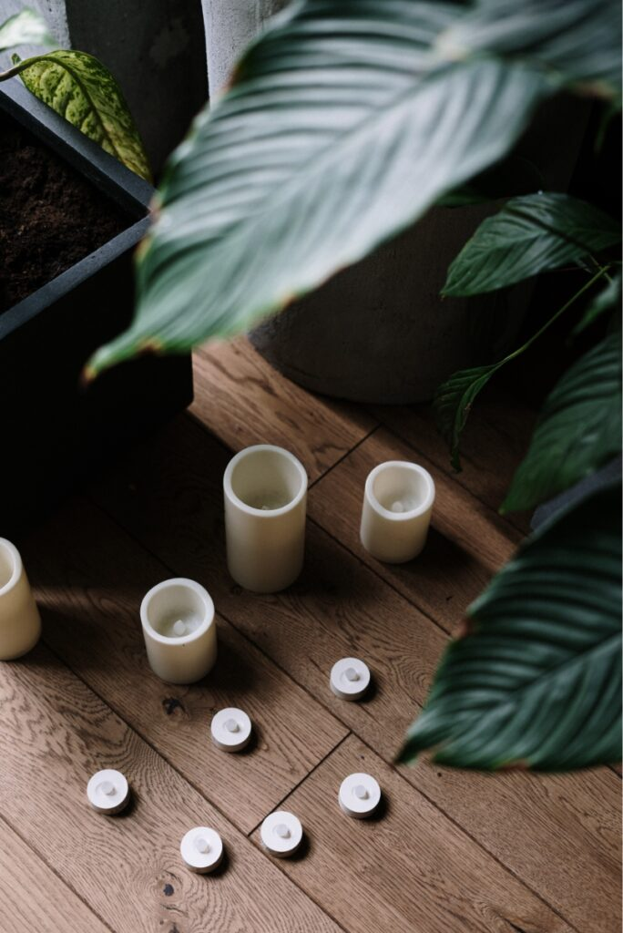 White candles placed on a wooden floor surrounded by plants